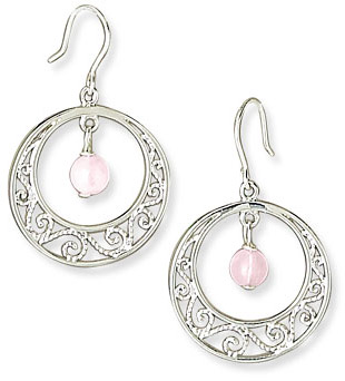 Scroll Design Sterling Silver Earrings with Rose Quartz Accents