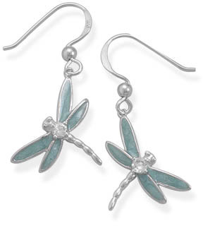 Sterling Silver Enameled Dragonfly Earrings with CZ Accent
