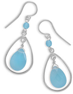 Blue Quartz Drop Earrings in Sterling Silver