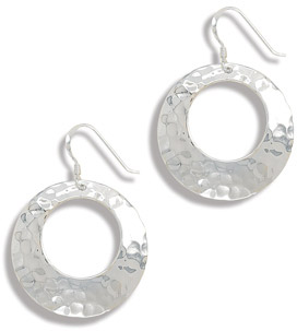 Hammered Circle Earrings in Sterling Silver