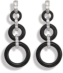 Graduated Black Onyx and CZ Earrings