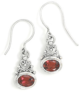 Filigree Garnet Earrings in Sterling Silver
