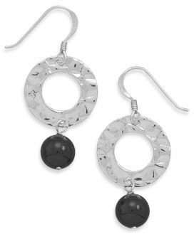 Black Onyx and Hammered Sterling Silver Disc Earrings