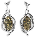 Green Amber Leaf Design Earrings in Sterling Silver