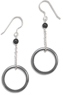 Hematite Circle and Black Onyx Earrings