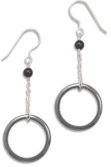 Hematite Circle and Black Onyx Earrings