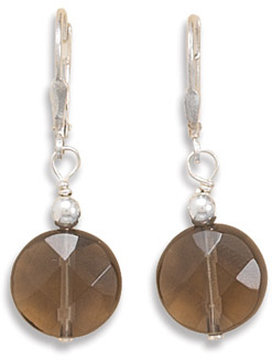 Faceted Smoky Quartz Lever Back Earrings