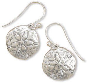 Antiqued Sand Dollar Earrings in Sterling Silver