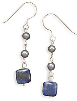 Lapis and Grey Freshwater Pearl Earrings