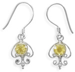 Citrine Filigree Earrings in Sterling Silver