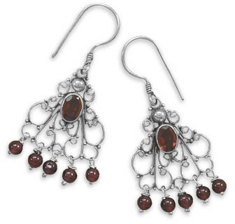 Filigree Garnet Earrings Sterling Silver