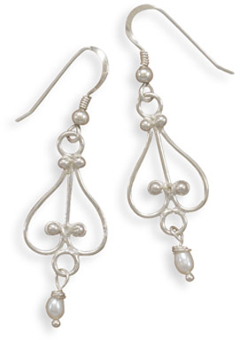 White Cultured Freshwater Pearl Earrings in Sterling Silver