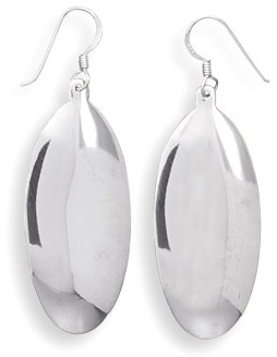 Polished Oval Sterling Silver Earrings