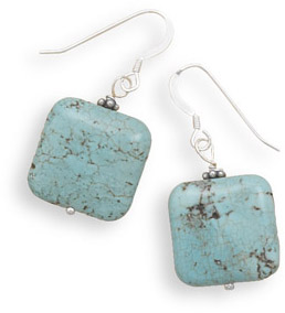 Square Turquoise Bead Earrings