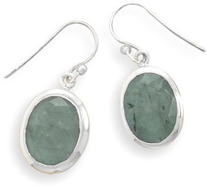 Rough-Cut Oval Emerald Earrings in Sterling Silver