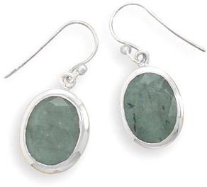 Rough-Cut Oval Emerald Earrings in Sterling Silver