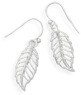 Cut Out Leaf Design Sterling Silver Earrings