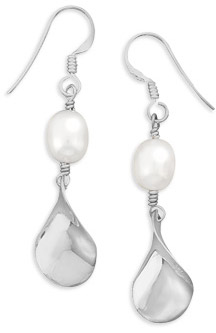 Cultured Freshwater Pearl Twist Earrings in Sterling Silver