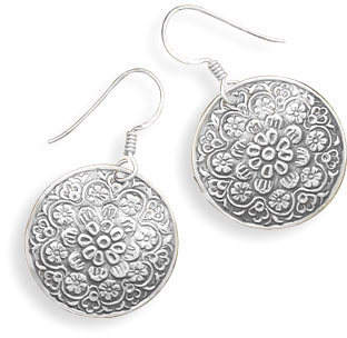 Floral Design Disc Earrings in Sterling Silver