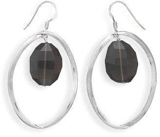 Oval Faceted Smoky Quartz and Sterling Silver Earrings