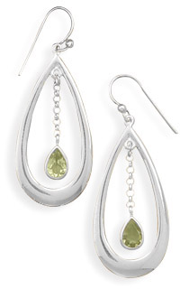 Peridot Teardrop Earrings in Sterling Silver