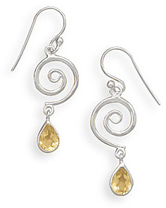 Citrine and Sterling Silver Spiral Earrings