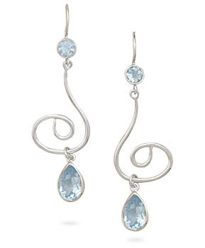 Sterling Silver and Blue Topaz Swirl Earrings
