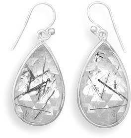 Rutilated Quartz Tear Drop Earrings