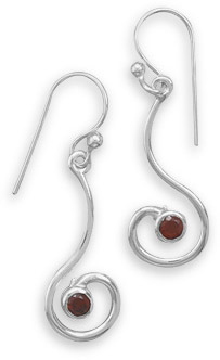 Garnet Swirl Earrings in Sterling Silver