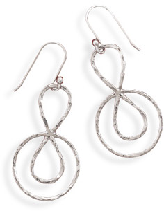 Hammered Abstract Design Earrings in Sterling Silver
