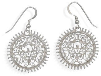 Ornate Filigree Disc Earrings in Sterling Silver