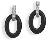 Oval Black Onyx and CZ Earrings