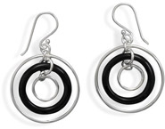 Black Onyx and Polished Ring Sterling Silver Earrings