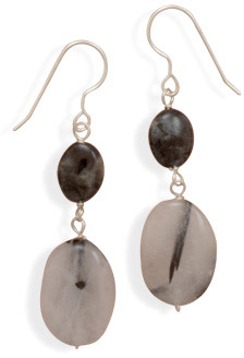Quartz and Labradorite Earrings