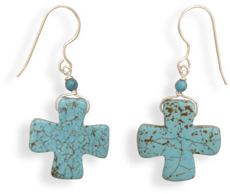 Magnesite Cross Earrings