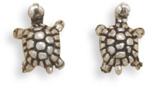 Antiqued Turtle Stud Earrings