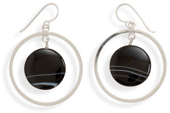 Sterling Silver Circle and Banded Black Onyx Earrings