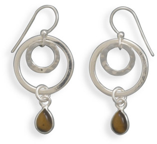 Tiger's Eye Double Ring Earrings