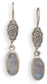 Floral Moonstone Earrings in Sterling Silver