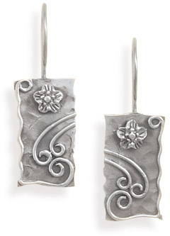 Rustic Sterling Silver Floral Earrings