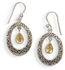 Sterling Silver Swirl Earrings with Citrine