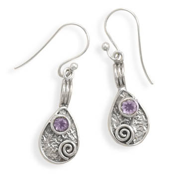 Rustic Amethyst Earrings in Sterling Silver