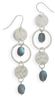 Labradorite Drop Earrings in Sterling Silver