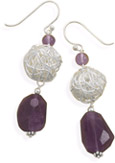 Amethyst and Wire Stering Silver Earrings