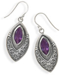 Marquise Amethyst Earrings in Sterling Silver