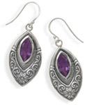 Marquise Amethyst Earrings in Sterling Silver
