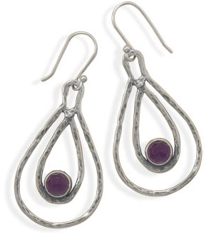 Double Pear Shape Drop Earrings with Amethyst