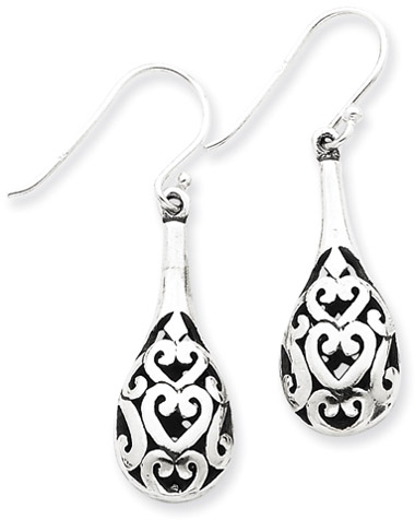 Antiqued Sterling Silver Teardrop Filigree Earrings