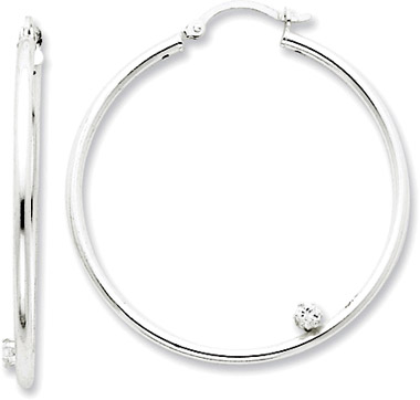 Sterling Silver Hoop Earrings with CZ Accent