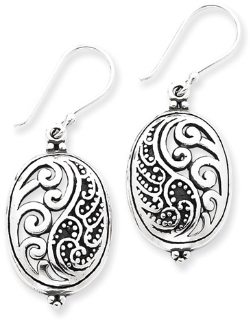 Antiqued Sterling Silver Design Earrings